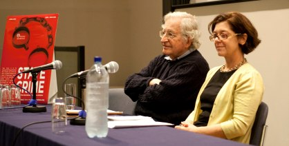 Penny Green & Noam Chomsky. Photo by Dolly Clew.