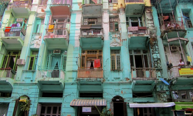 A street in Rangoon/Yangon's Muslim quarter.
