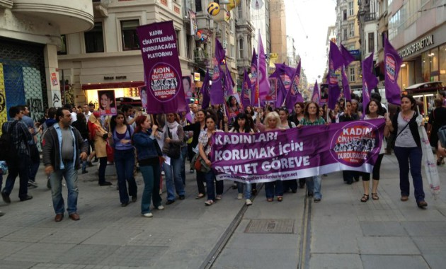 A protest in Taksim square against violence against women